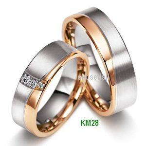 Cincin Kawin Dua Warna perak lapis emas KM28