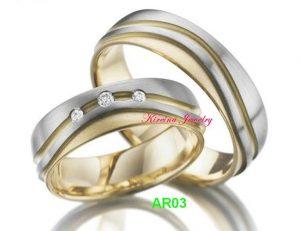 Cincin Tunangan Perak Lapis Emas AR03