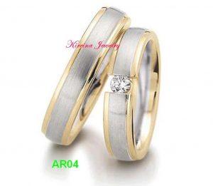 Cincin Tunangan Perak Lapis Emas AR04