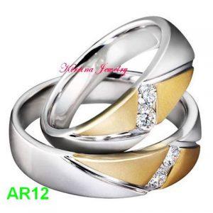 Cincin Tunangan Perak Lapis Emas AR12