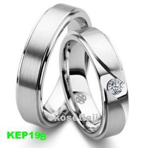Cincin Kawin Berlian Palladium dan Emas putih KEP19B