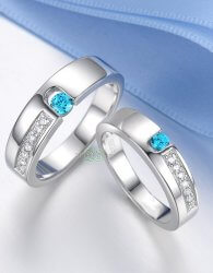 Cincin couple batu biru